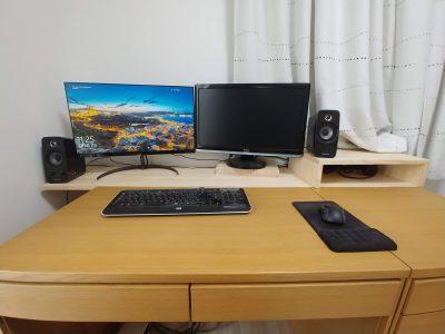 PCデスクの奥行を拡張するために棚をDIY。格安ででき作業量もそこまで多くありません。
