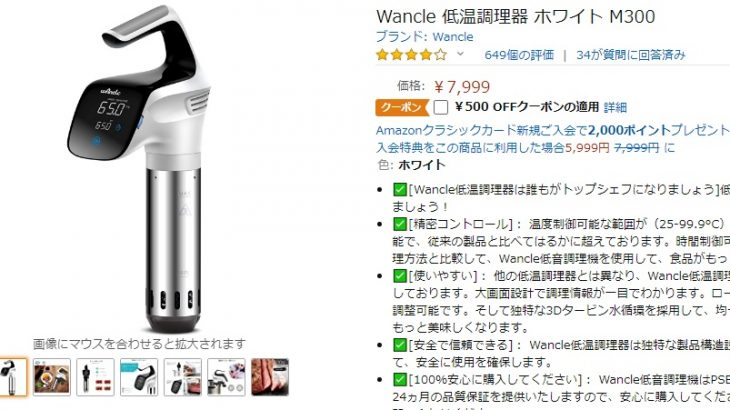wancle 低温調理器 M300 のレビュー。中華製激安のパチモン商品は使用可能か?